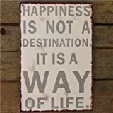 Metal Sign Happines Is A Way Of Life - 20 X 30 White Wall Signby Carousel Home