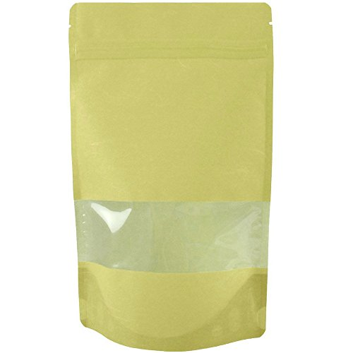 Rice Paper Natural Kraft Stand up Pouches with Window and Zip Lock Food Storage Bag, Pack of 25 (Small - 4 oz) (Rice Paper Pouches compare prices)