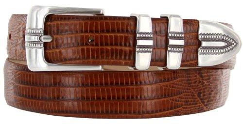 "Kaymen Italian Calfskin Leather Designer Dress Golf Belts for Men 1-1/8"" Wide (36, Lizard Tan)"
