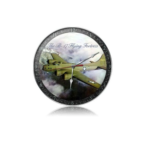 B-17 Fog Vintage Metal Clock Flying Fortress Military Plane 14X14 Steel Not Tin
