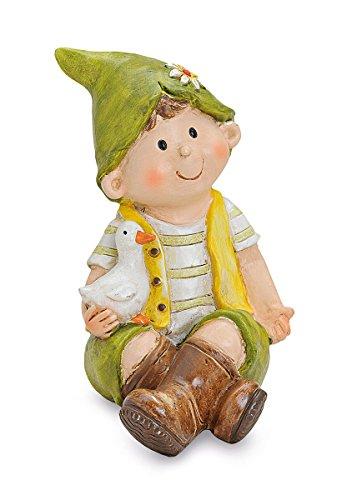 Deko Figur Junge sitzend mit Zipfelmütze und Gans im Arm, aus Polystein grün gelb 10x14x18 cm groß, niedliche Gartenfigur Dekofigur für den Garten
