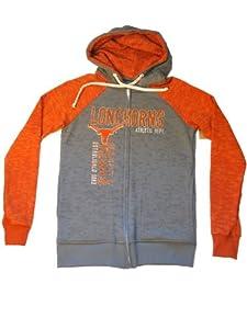 Texas Longhorns Blue 84 Women Gray Orange Full-Zip Hooded LS Sweatshirt (M) by Blue 84