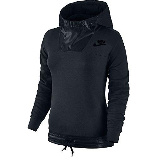 New Nike Women's Sportswear Advance 15 Pullover Hoodie Black/Black/Black X-Large