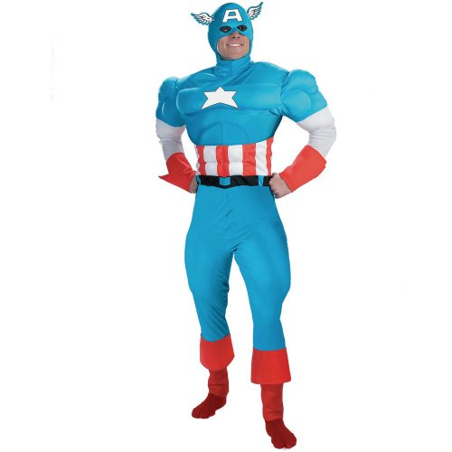 Disguise Mens Captain America Deluxe Muscle Adult Costume