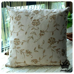 Diaidi Country Rustic Floral Hold Pillow Cover Back Cushion Cover Beige Brown Cotton Crochet Cushion