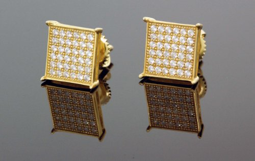 .925 Silver Yellow Square White Crystal Micro Pave Unisex Mens Stud Earrings 10mm