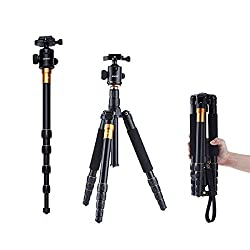New Q-666 SLR Camera Tripod Monopod & Ball Head Portable Compact Travel