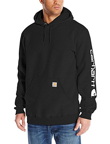 Carhartt Men's Big & Tall Signature Sleeve Logo Midweight  Sweatshirt Hooded,Black,X-Large Tall (Insulated Carhartt Hoodie compare prices)