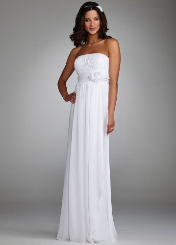 David&#8217;s Bridal Wedding Dress: Chiffon Gown with Ruched Waist and Floral Detail Style 231M15640