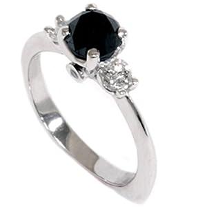 1.42CT Black Diamond Engagement Accent Anniversary Ring