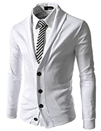 TheLees (GD132) Mens Slim Fit Collar Point Button Cardigan White US L(Tag size 2XL)