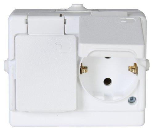 Kopp 130202002 - Presa schuko, per montaggio a parete in ambiente umido, a 2 ingressi, con coperchio ribaltabile, IP44, standard