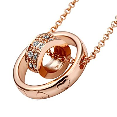 Lekani Rose Gold Color Dual Ring Rhinestone Crystal Necklace