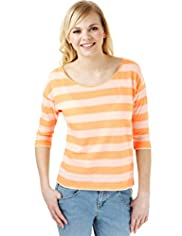 Angel Cotton Rich Striped T-Shirt with Linen