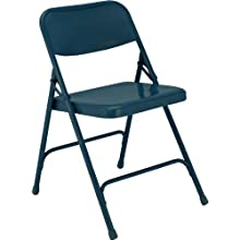 National Public Seating 200 Series All Steel Premium Folding Chair with Double Brace, 480 lbs Capacity, Char-Blue (Carton of 4)