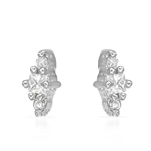 Genuine Morne Rouge (TM) Earrings. 0.50 Ctw Cubic Zirconia Sterling Silver Earrings - Material/Stone: f. 0.9 Grams in Weight and 7 mm in Length. 100% Satisfaction Guaranteed.