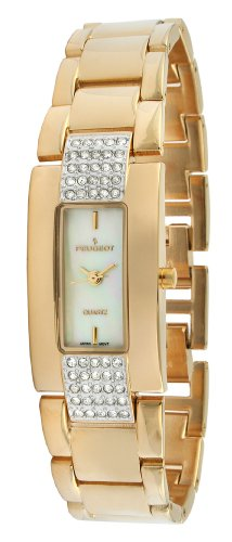 Peugeot Women's PQ6136G Gold-Tone Crystal Accented Adjustable Bracelet Watch