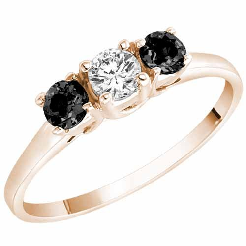 Ryan Jonathan Three Stone White and Black Diamond Ring in 14K White Gold