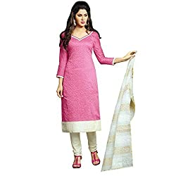 Stylowoman Un-stitched Cotton Cambric Dress Material Free Size Pink