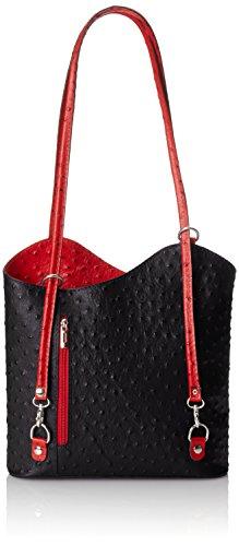 chicca-borse-sacs-portes-epaule-femme-multicolore-nero-con-manico-rosso-30-cm