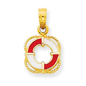 14k Enameled Lifesaver Ring Pendant