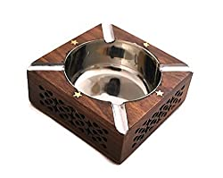 Handmade Wooden Ash Tray for Outdoor and Outside Decorative Retro Olde Worlde Antique-Look Wood & Stainless Steel - 4 x 4 x 1.8
