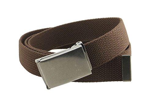 "Canvas Web Belt Flip-Top Antique Silver Buckle/Tip Solid Color 50"" Long (Brown)"