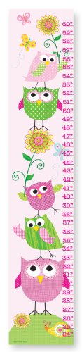The Kids Room by Stupell Pink and Green Owls with Smiling Snail Growth Chart
