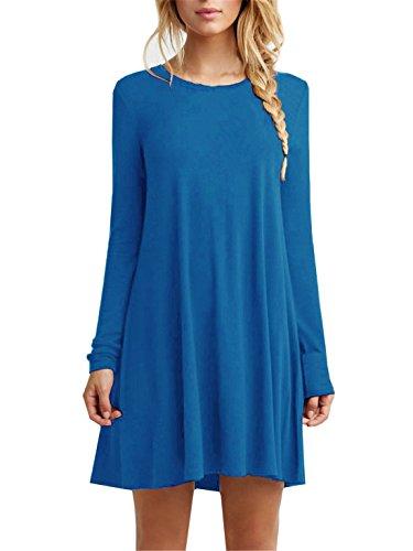 Flowy Tshirt Dress Womens T Shirt Teen Dresses Sequin Tunic Rust Plaid Shirts For Women Shift Long Sleeve Lightweight Cotton Night,Sky Blue,Small (Long Light Blue Dresses For Women compare prices)