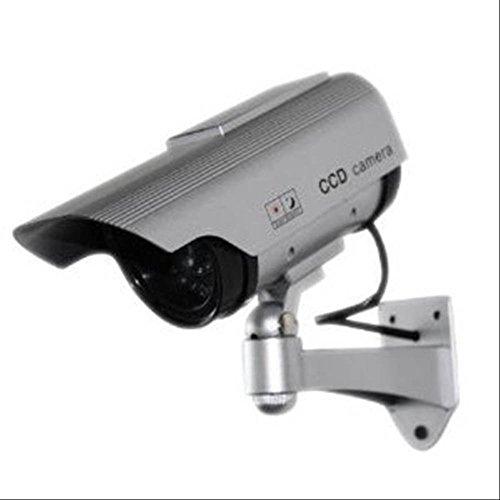 赤色 LED が 常時 点灯で 不審者 撃退 ソーラー パネル 式 ダミー 防犯 カメラ 電池不要
