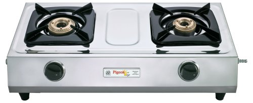 Pigeon Pigeon Stainless Steel Cute Auto LPG Stove, 2 Burner (Grey)