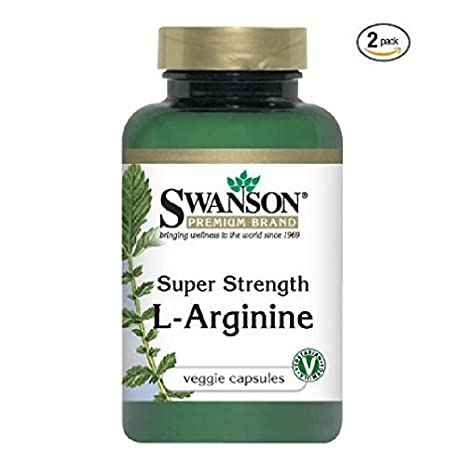 Swanson Premium Brand Super Strength L-Arginine 850mg -- 2 Bottles each of 90 Capsules by Premium