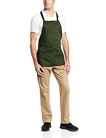 "Chef Revival 602BAFH Poly Cotton ""Front of the House"" Professional Bib Apron with 3 Compartment Front Pocket, 25 by 28-Inch, Hunter Green"