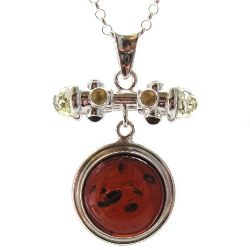 Multicolor Amber and Sterling Silver Round Pendant, 18
