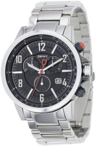 DKNY NY1326 Gents Stainless Steel Round Chronograph, Black Dial and Steel Bracelet Watch