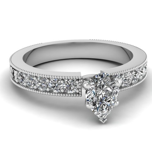 Fascinating Diamonds 0.80 Ct Pear Shaped Si2 Diamond Florid Engagement Ring With Milgrain 14K Gia