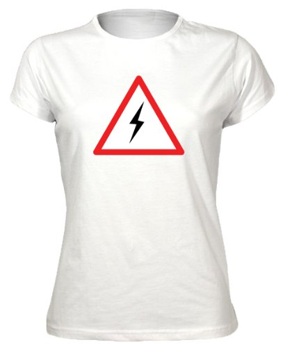 Lightening Warning Sign Cool Funny Novelty Funky Womens T-Shirt