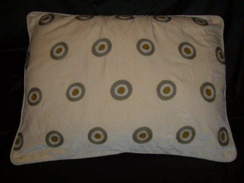Crewel Pillow Polka Dot Green on Gold Cotton Velvet (26X26)