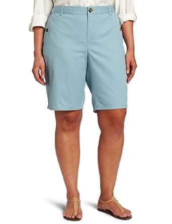 Dockers Women's Plus-Size Button Pocket Promo Bermuda, Stone Blue, 24