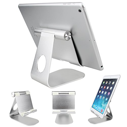 Oenbopo 360° Rotatable Aluminum Desktop Holder Tablet Stand for iPhone iPad Tablet PC GPS 2015 new Tablet Holder (silver 2)