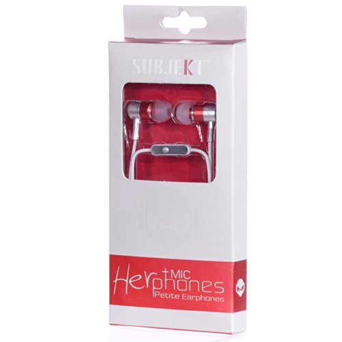 Subjekt HerPhones Petite Earphones with Microphone Designed for Small Ears - Wired Headsets - Retail Packaging