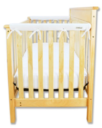 Trend-Lab-Fleece-CribWrap-Rail-Covers-for-Crib-Sides-Set-of-2-White-Narrow-for-Crib-Rails-Measuring-up-to-8-Around