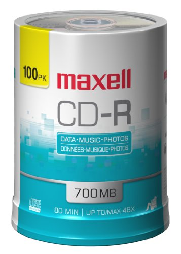 MAXELL 648200 - CDR80100S 80-Min 700 MB CD-R 100-ct spindle