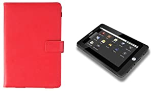 Coby Kyros MID7016 7-Inch Android Leather Case - Red at Electronic-Readers.com
