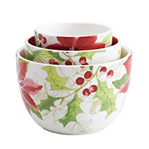 Paula Deen Signature Dinnerware Holiday Floral Collection 3-Piece Nested Bowl Set Assorted