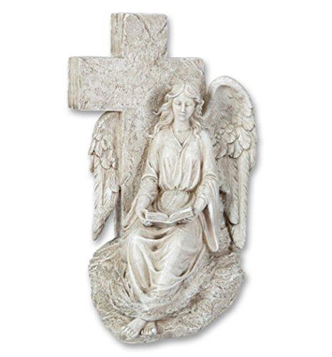 Grabschmuck Engel am Kreuz Grabstein Gedenkstein Grabdeko Deko Grab Figur Buch