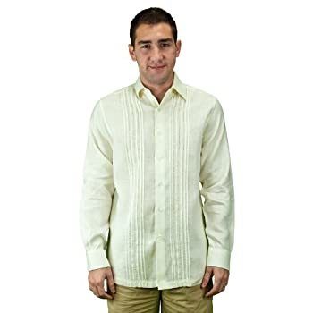 Pleated wedding shirt for men, linen, ivory.