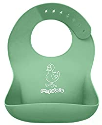 McPolo\'s Cutest Baby Duck iBib 100% Portable Silicone Baby Bib - Waterproof Food Crumb Catcher Pocket Ultra Soft Easily Wipes Clean Stains Off - Best for 2 MO to 6 YO Babies Toddlers PreSchoolers