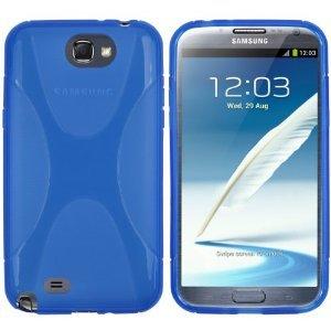 Bingsale® X-TPU Skin Case Samsung Galaxy Note 2 N7100 Silikon Tasche Hülle - Silicon Protector Schutzhülle Blau+ Displayschutzfolie Samsung Galaxy Note 2 N7100 Schutzfolie Folie