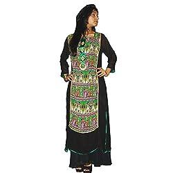 Atulya Women's Embroidered Kurti (ATKSS1501B_Black_Large)